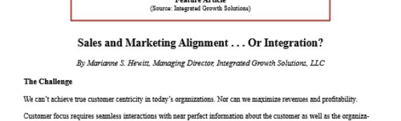 The Alignment of Marketing and Sales